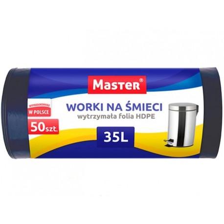 Worki na śmieci foliowe HDPE 35l 50 szt czarne