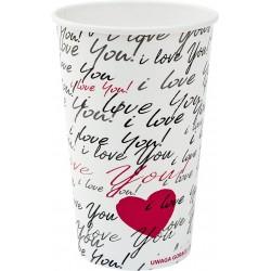 Kubki papierowe 400 ml/50 szt. jednorazowe do kawy I LOVE YOU