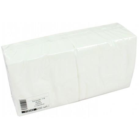 Serwetki papierowe białe 24x24 cm a200 składane 1/4