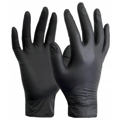 Rękawiczki nitrylowe bezpudrowe 100 szt. rozm. M czarne