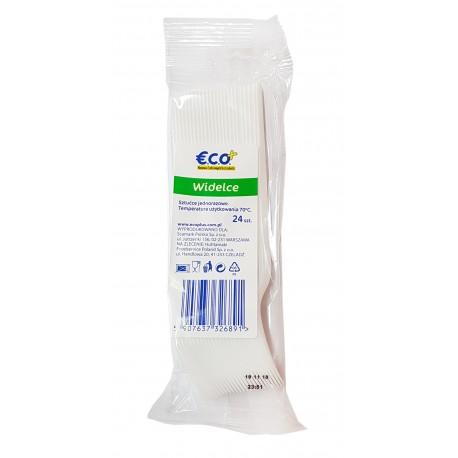 Widelce jednorazowe plastikowe sztaplowane 24 sztuki ECO