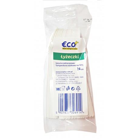 Łyżeczki jednorazowe plastikowe sztaplowane 24 sztuki ECO