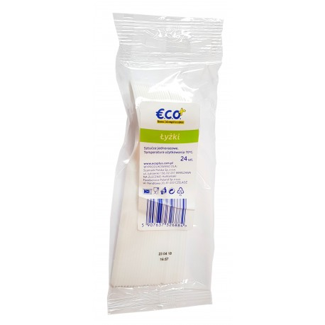Łyżki jednorazowe plastikowe sztaplowane 24 sztuki ECO